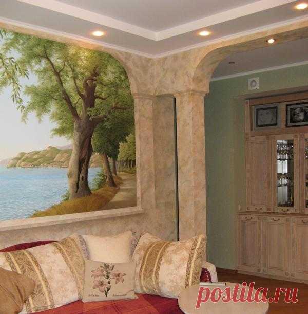 Капитальный ремонт, перепланировка, роспись стены и декоративная штукатурка