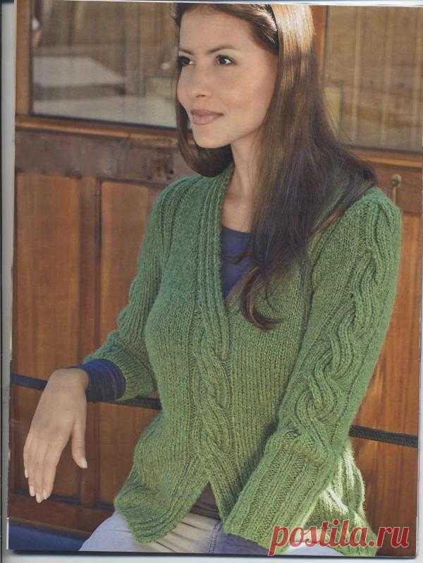 Зеленый пуловер с косой | Шкатулочка для рукодельниц