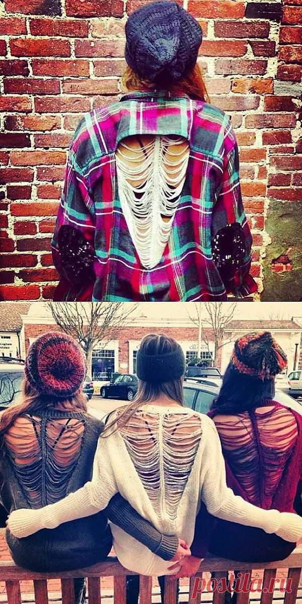 Рубашка с дыркой и заплатками / Рубашки / Модный сайт о стильной переделке одежды и интерьера