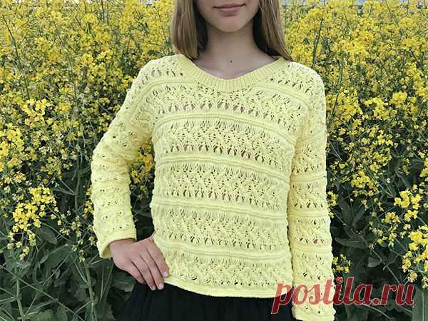 Вяжем ажурный пуловер Лимончелло | Журнал Ярмарки Мастеров