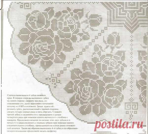 круглая скатерть филейное вязание крючком схемы 21 тыс изображений