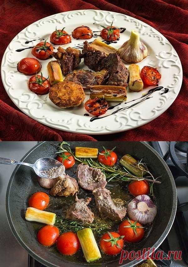 Мясо с чесноком и овощами
