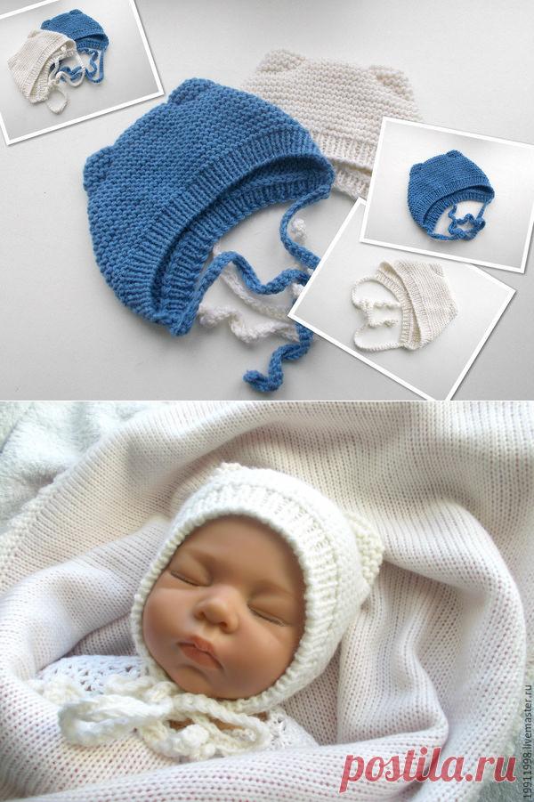 Видео мастер-класс: вяжем шапочку с ушками для новорожденного малыша: публикации и мастер-классы – Ярмарка Мастеров