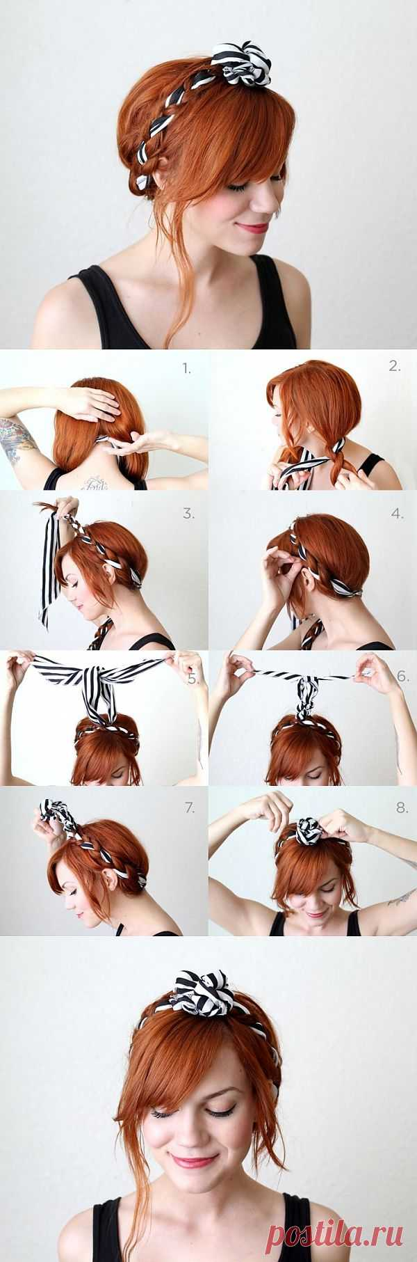Шарфик-лента в волосах (Diy) / Прически / Модный сайт о стильной переделке одежды и интерьера
