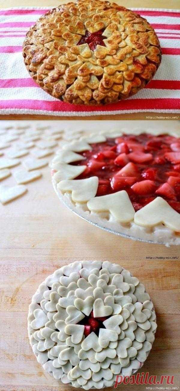 Клубничный сердечный пирог