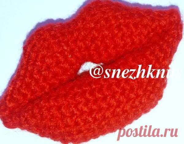 брошь крючком красные губы Red Lips ажур схемы узоров