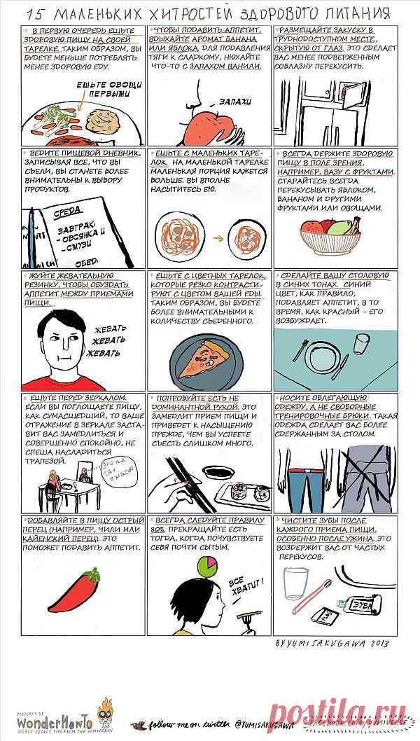 ИНФОГРАФИКА: 15 маленьких секретов здорового питания от Yumi Sakugawa | Лайфхакер