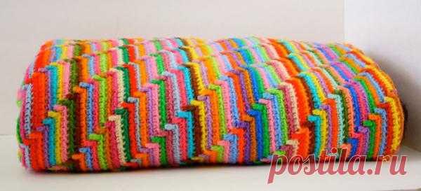 "Одеяло ""Радуга"".  Источник: http://winkieflash.nl/patterns/groovy-ghan-en/"