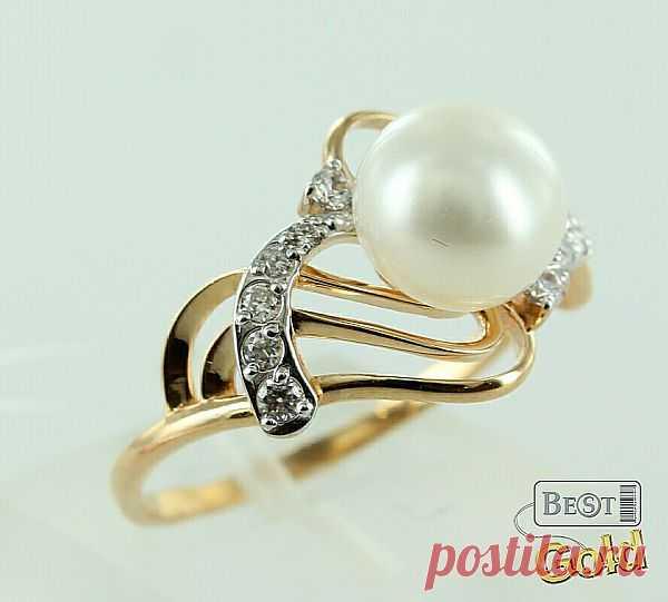 Золотое кольцо с жемчугом и фианитами - 6753 руб