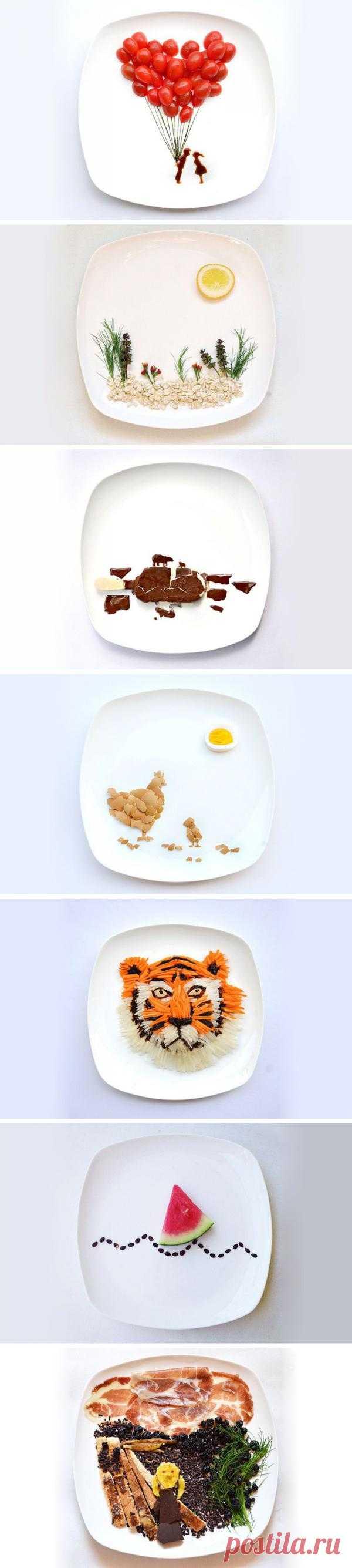 Кулинарное искусство Ред. Каждый день художница Хонг Йи, иначе Ред, публикует по фотографии в день на Instagram, чтобы поделиться своими кулинарными творениями, которые размещены на белой тарелке.