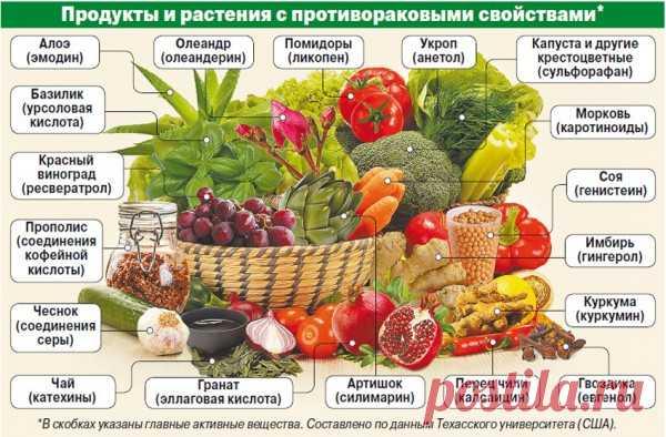 Los productos con las propiedades anticancerosas | el Servicio de la profiláctica médica de la región de Moscú