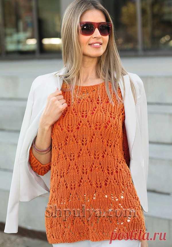 Ажурный пуловер кораллового цвета спицами - SHPULYA.com