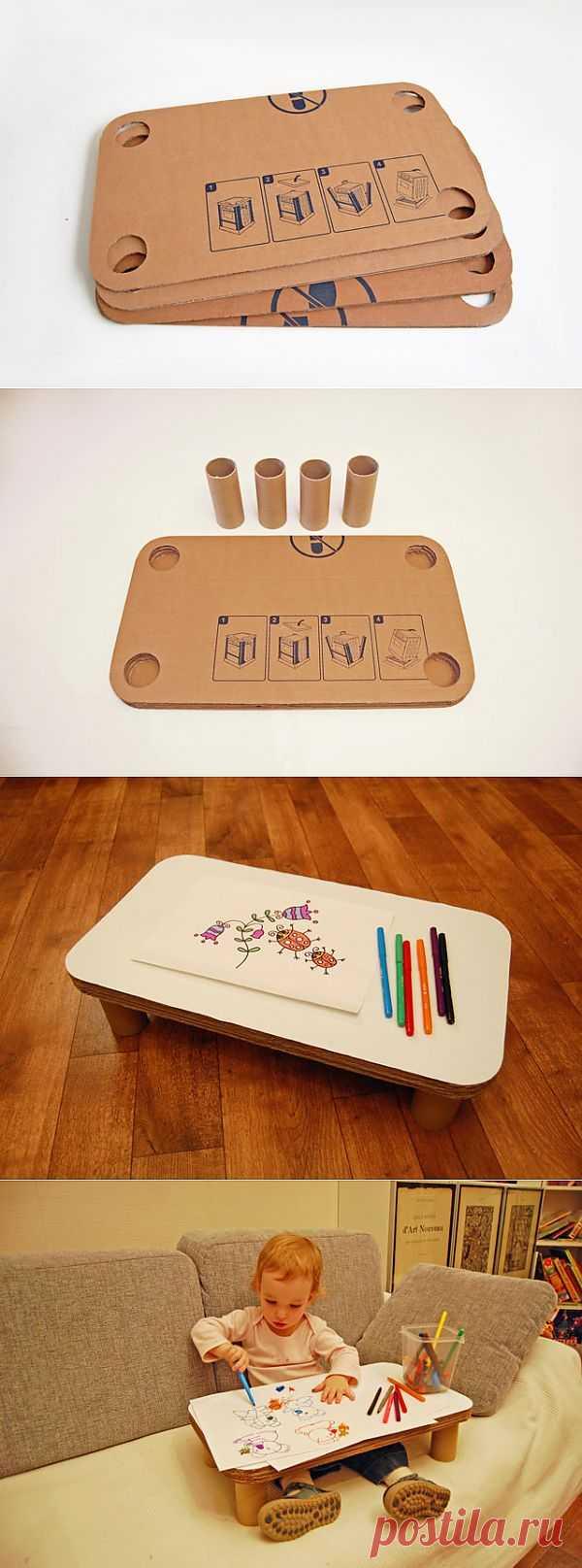 Детский столик на диван из картона. Мастер-класс..