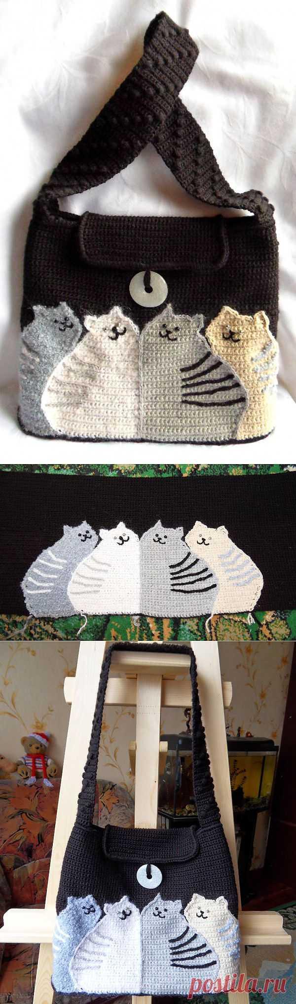 Коты   Вязаные сумки