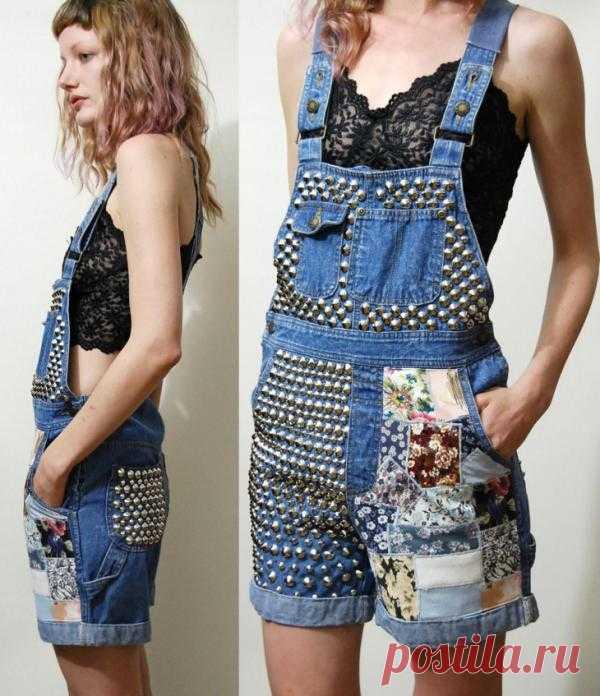 Декор винтажного комбинезона / Переделка джинсов / Модный сайт о стильной переделке одежды и интерьера