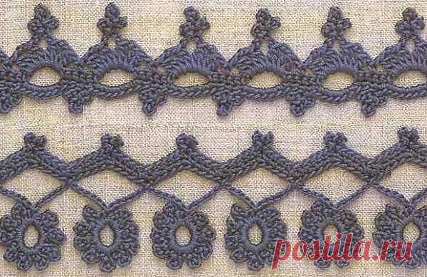 Вязание крючком. Узоры и схемы для обвязки края изделия..