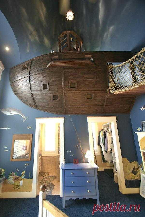 Эххх ... Сила любви к приключениям - может совершить попросту невероятное! Романтика интерьера детской комнаты в стиле Джека Воробья.