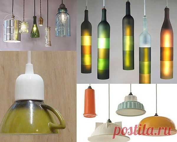 Светильники из чашек, бутылок и мисок.