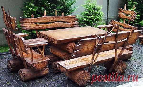 садовая мебель из бревен своими руками– Google Поиск