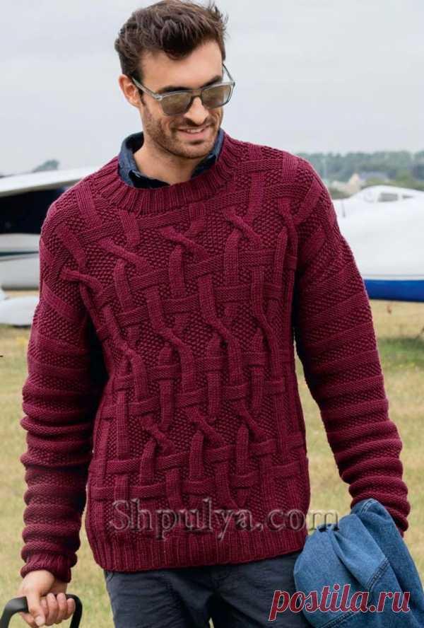 0ffcd3a751c1 Бордовый мужской пуловер с рельефным узором из кос - SHPULYA.com ...
