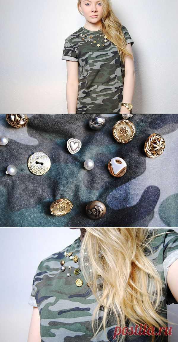 Декор футболки миллитари (DIY) / Футболки DIY / Модный сайт о стильной переделке одежды и интерьера