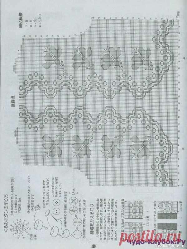 Красивый жакет из азиатского журнала | Вязание для женщин спицами. Схемы вязания спицами