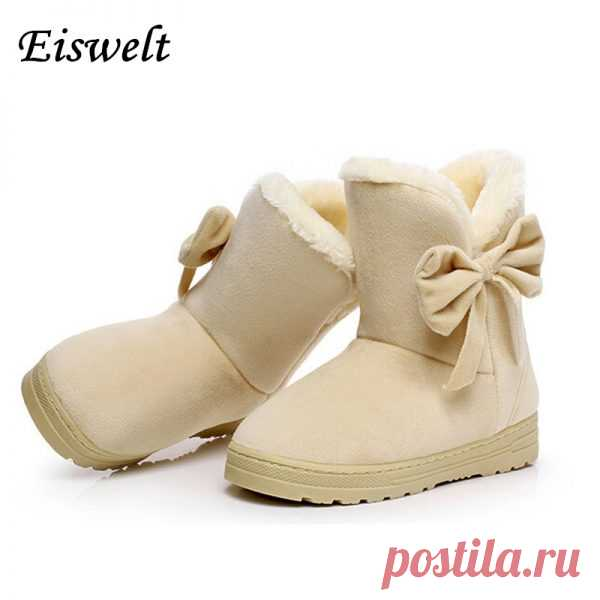 17 New Arrival Hot Sale Women Boots Solid Bowtie Slip-On Soft Cute Women Snow Boots Round Toe Flat with Winter Shoes#WSZ31 - My shopping point