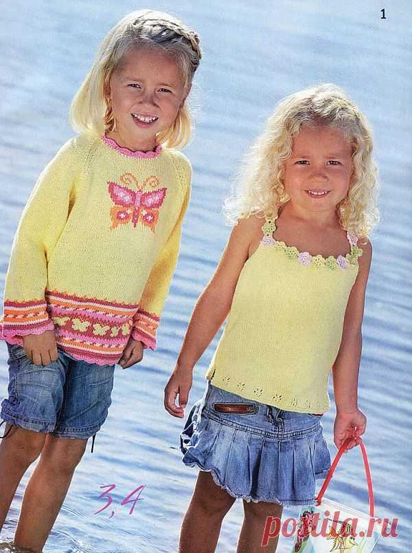 Пуловер и топ для девочек.