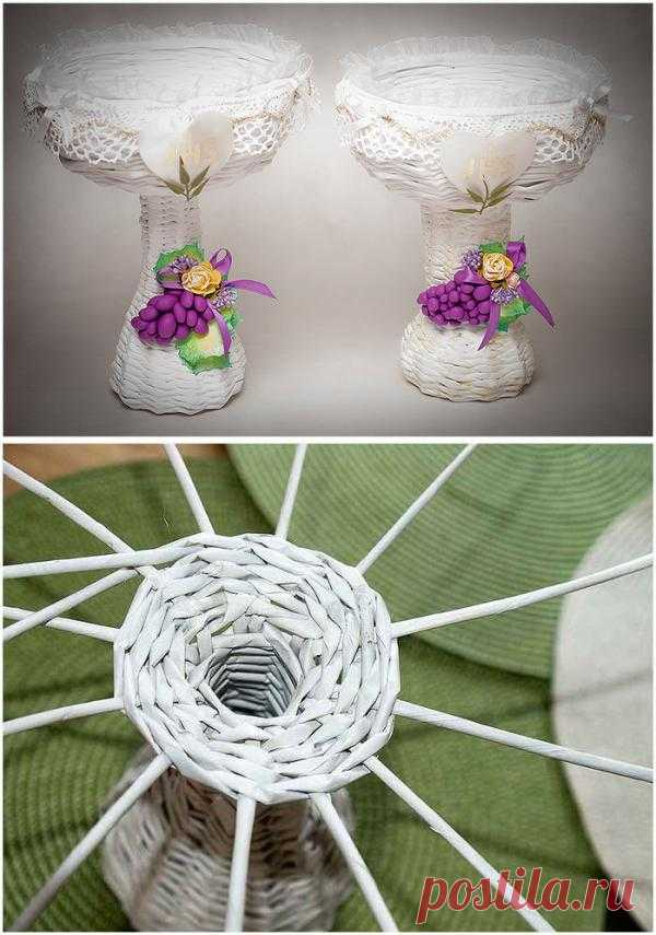 Weaving from newspapers. The REMARKABLE VASE with grapes