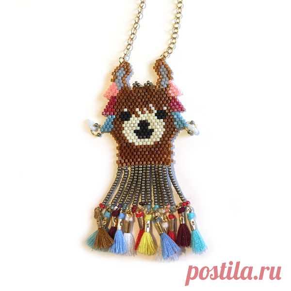 patrón de collar Lama ladrillo tejer puntada con perlas de Miyuki ...