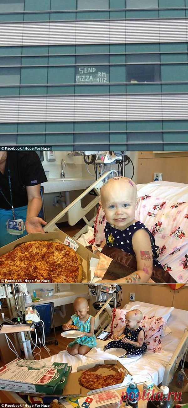 Всем добра! 20 пицц прислали незнакомы люди больной раком девочке в ее палату после того, как на ее окне появилась надпись