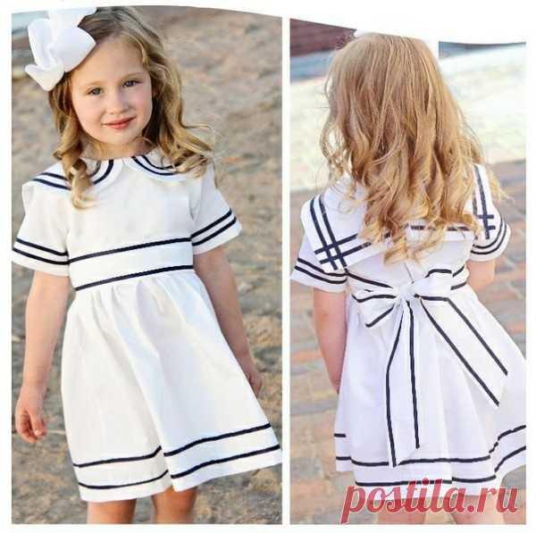 Выкройка детского платья в морском стиле Модная одежда и дизайн интерьера своими руками