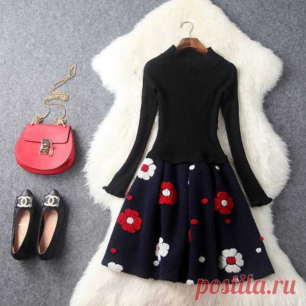 Europe and the United States women's new winter 16 Round collar show thin knitting splicing cloth flocking flower dress - Shopping for necklace clothes bags earrings boots