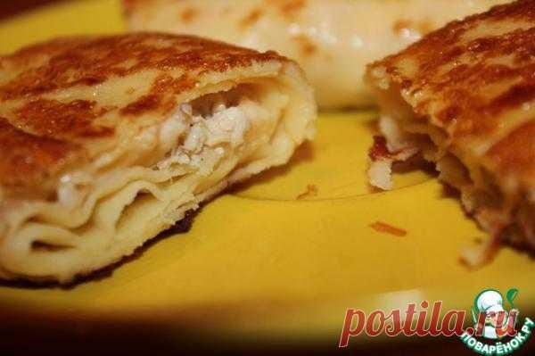 Вкуснейшие блинчики с курицей и сыром.