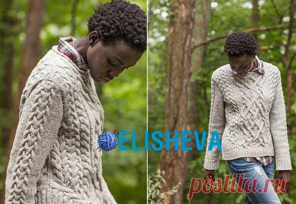 Пуловер с шикарными аранами