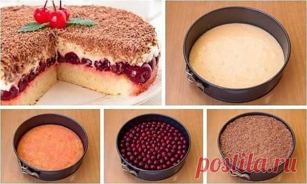 • Домашняя Кулинария • Вишневый пирог «Наслаждение»