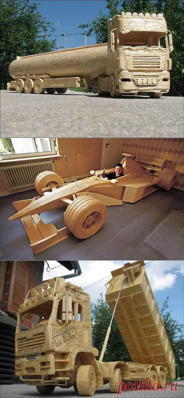 ТЕХНИКА ИЗ СПИЧЕК. Ребята  из Хорватии делают технику  из спичек! Посмотрите -  грузовики, автомобили, трактора и всё это с поразительной  детализацией!..