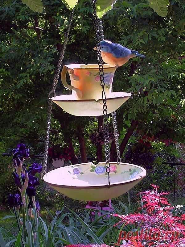 Кормушка и поилка для птиц из чашки и тарелки.