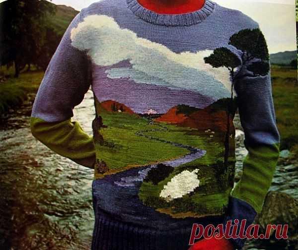 Вязаный свитер с пейзажем / Вязание / Модный сайт о стильной переделке одежды и интерьера
