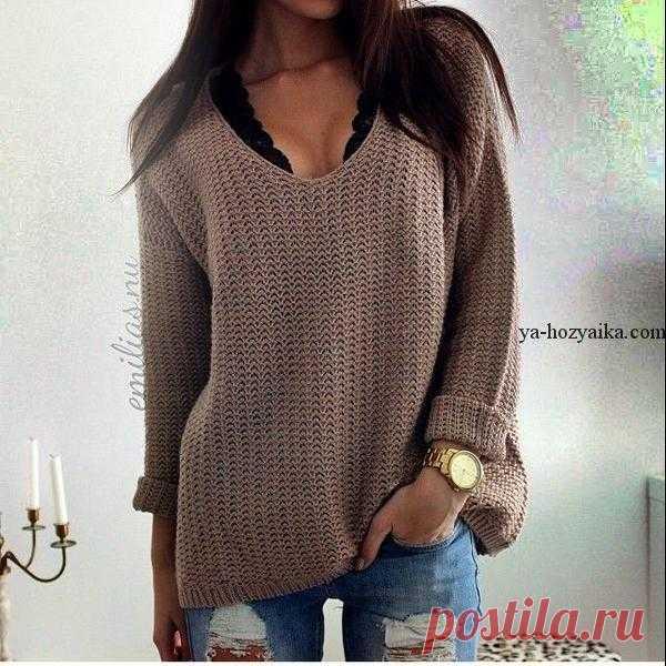 джемпер оверсайз спицами как вязать свитер Oversize джемпер