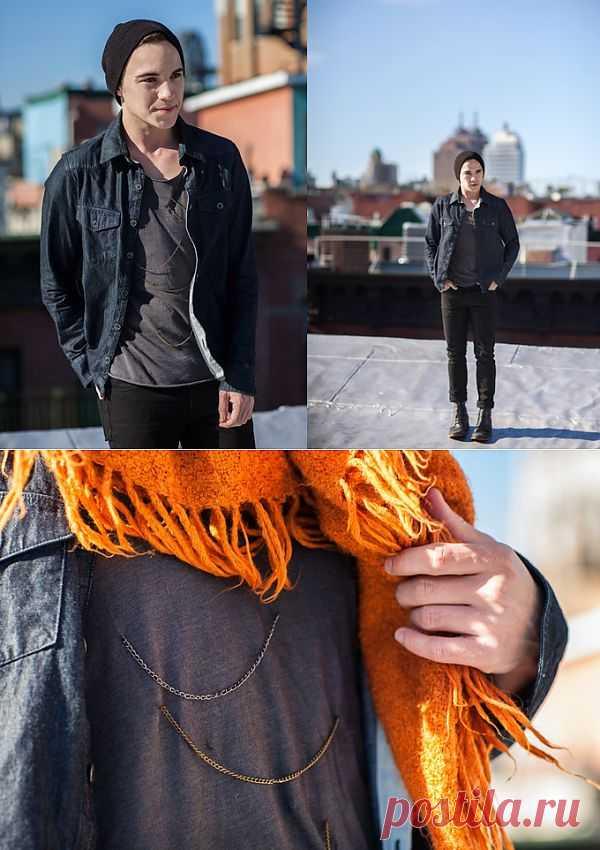 Мужская футболка с нашитыми цепочками / Футболки DIY / Модный сайт о стильной переделке одежды и интерьера