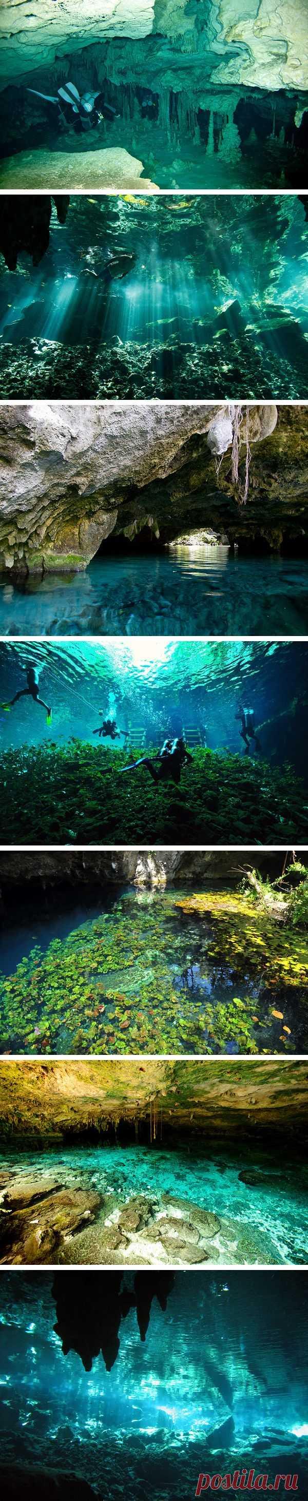 Захватывающий дайвинг в пещерах Мексики