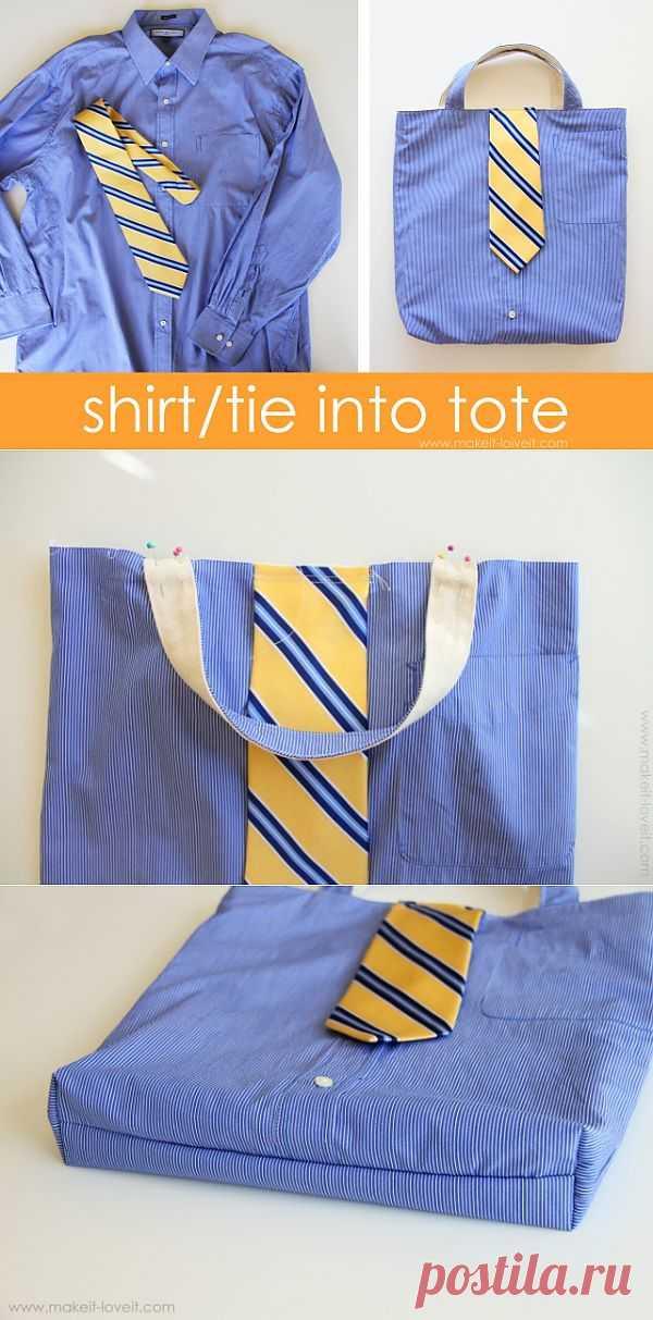 Сумка из мужской рубашки и галстука / Сумки, клатчи, чемоданы / Модный сайт о стильной переделке одежды и интерьера
