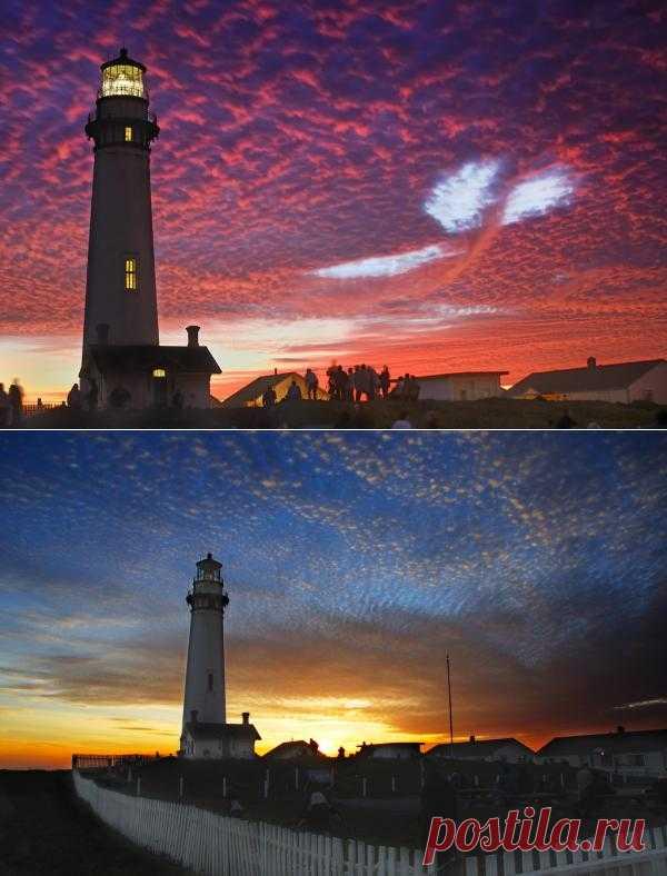необычное и красивое облако над маяком
