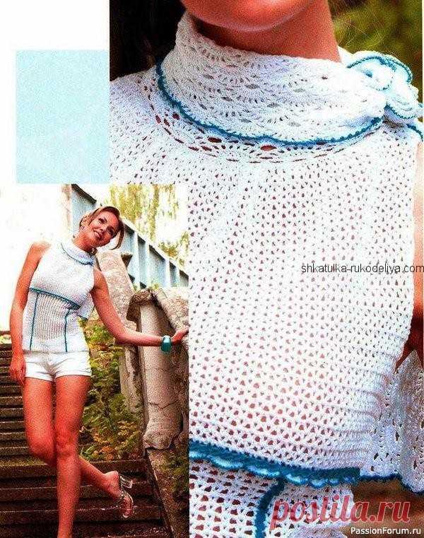 Летний топ с воротником стойка крючком. Белый топ с открытыми плечами для женщин крючком | Женская одежда крючком. Схемы и описание