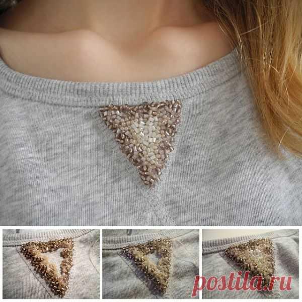 Вышитый бисером треугольник свитшота (Diy) / Худи / Модный сайт о стильной переделке одежды и интерьера