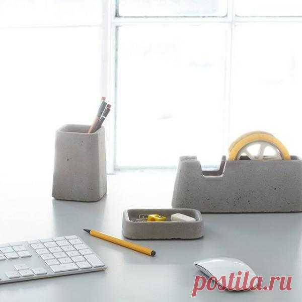 """""""Бетонные"""" аксессуары для офиса ($62 @ fancy)"""