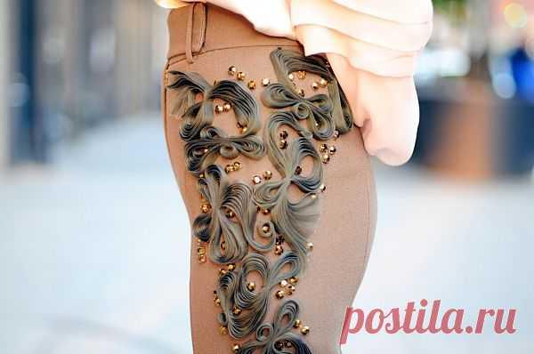 Брюки с декором лентой / Декор / Модный сайт о стильной переделке одежды и интерьера