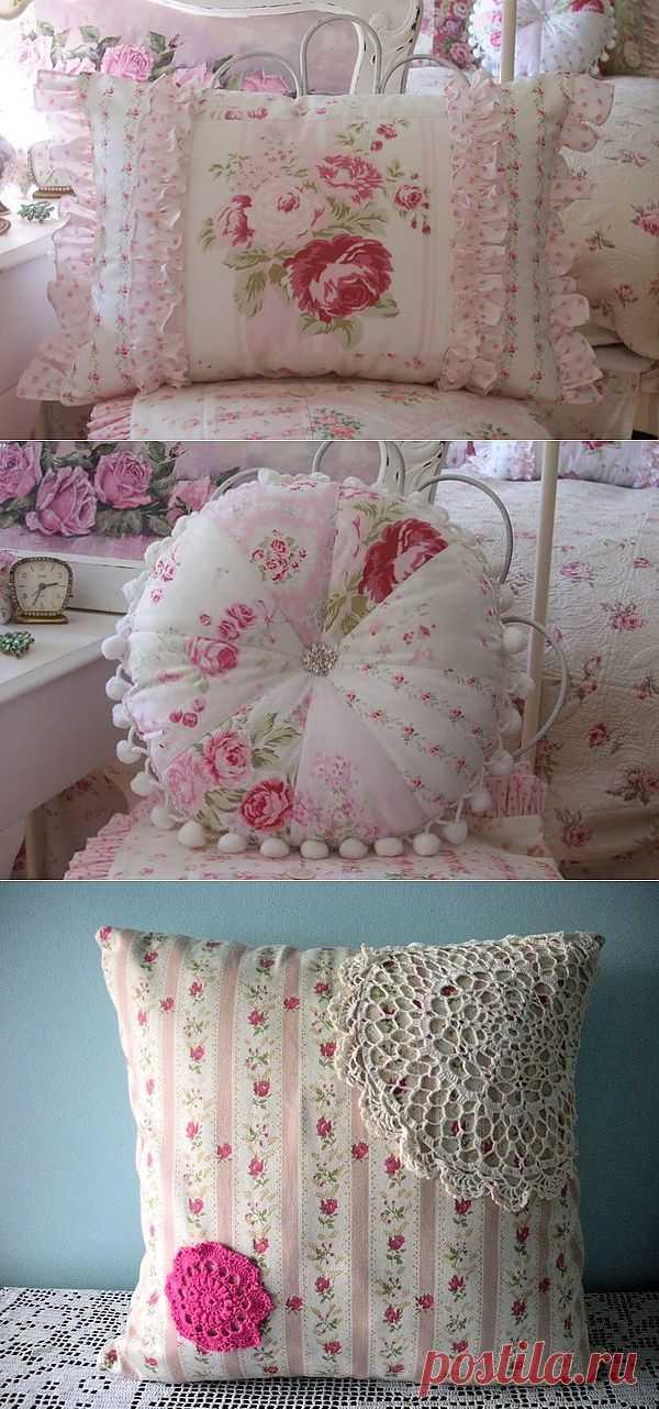 Винтажные подушки в интерьере.