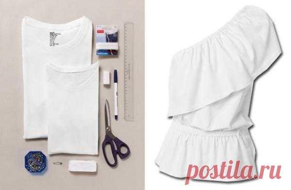 Топ с баской из двух футболок (Diy) / Футболки DIY / Модный сайт о стильной переделке одежды и интерьера